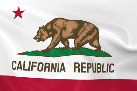 californian: Waving State Flag of California - 3D Render of the Californian State Flag with Silky Texture