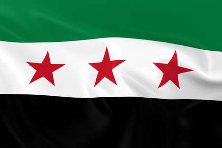 syrian: Waving Flag of the Syrian Opposition - 3D Render of the Syrian Opposition Flag with Silky Texture Stock Photo