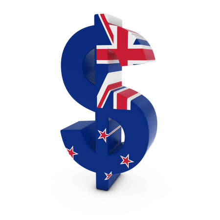 signo pesos: S�mbolo del d�lar con textura con la bandera de Nueva Zelanda aislado en el fondo blanco