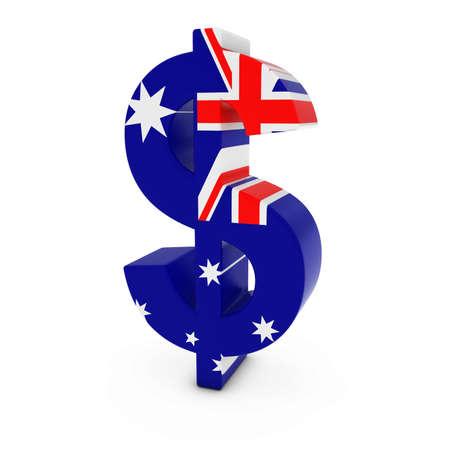dollaro: Simbolo del dollaro strutturato con la bandiera australiana isolato su sfondo bianco