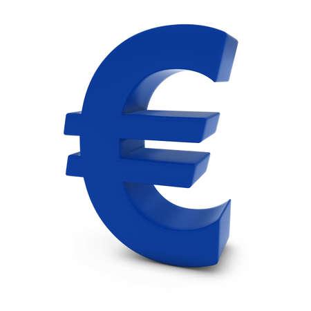 euro symbol: Blue Euro Symbol Isolated on White Background Stock Photo