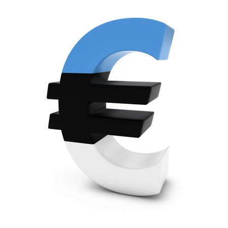 estonian: Euro Symbol textured with the Estonian Flag Isolated on White Background