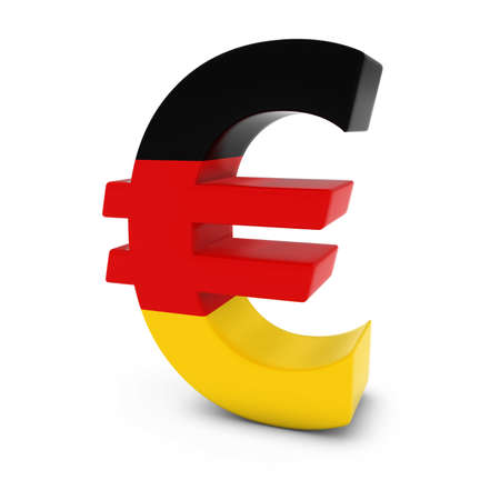 euro symbol: Euro Symbol textured with the German Flag Isolated on White Background
