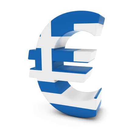 greek currency: Euro Symbol textured with the Greek Flag Isolated on White Background Stock Photo
