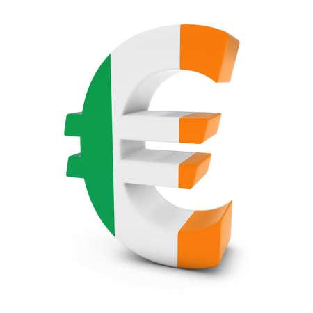 euro symbol: Euro Symbol textured with the Irish Flag Isolated on White Background Stock Photo