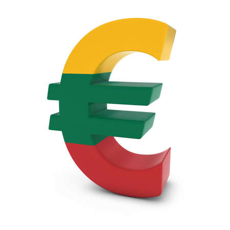 euro symbol: Euro Symbol textured with the Lithuanian Flag Isolated on White Background