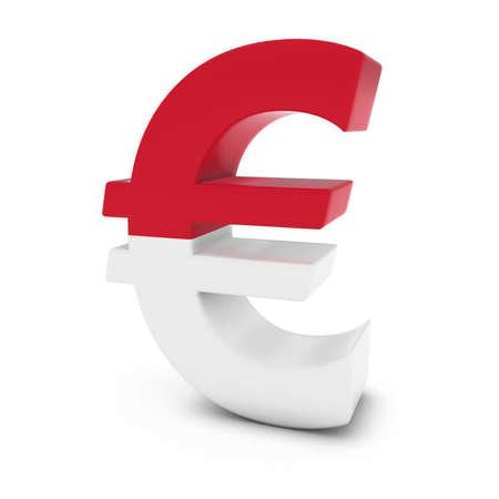 euro symbol: Euro Symbol textured with the Flag of Monaco Isolated on White Background Stock Photo