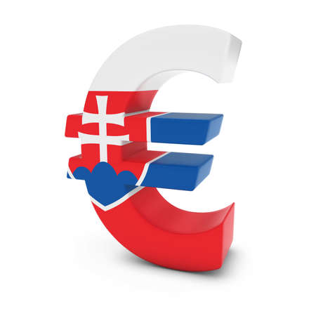 euro symbol: Euro Symbol textured with the Slovakian Flag Isolated on White Background