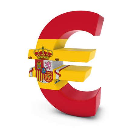 euro symbol: Euro Symbol textured with the Spanish Flag Isolated on White Background