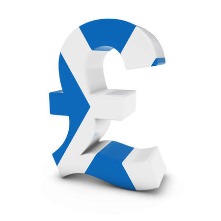 scottish flag: Pound Symbol textured with the Scottish Flag Isolated on White Background