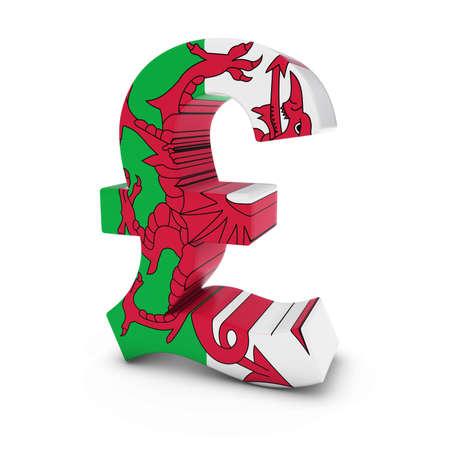 welsh flag: Simbolo della sterlina strutturato con la bandiera gallese isolato su sfondo bianco Archivio Fotografico