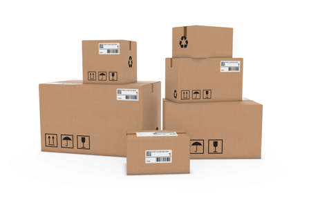 cardboard boxes: Stack of Cardboard Boxes with Delivery Labels Isolated on White