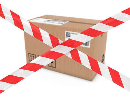 hazard tape: Suspicious Parcel Concept - Cardboard Box behind Striped Hazard Tape