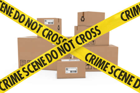 corrugated cardboard: Illegal Parcels Concept - Stack of Cardboard Boxes behind Crime Scene Tape