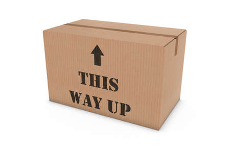 this: THIS WAY UP Stenciled Cardboard Box Isolated on White Background