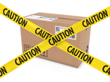 barrier tape: Suspicious Parcel Concept - Cardboard Box behind Caution Tape Cross Stock Photo
