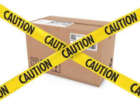 suspicious: Suspicious Parcel Concept - Cardboard Box behind Caution Tape Cross Stock Photo
