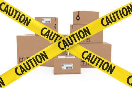 suspicious: Suspicious Parcels Concept - Stack of Cardboard Boxes behind Caution Tape Cross