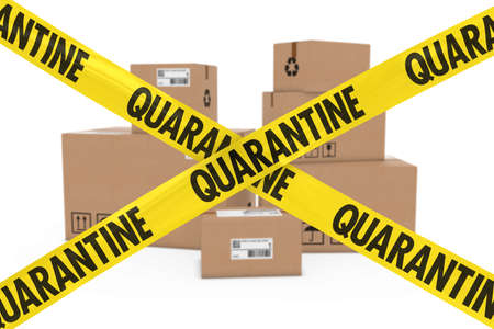 quarantine: Dangerous Parcels Concept - Stack of Cardboard Boxes behind Quarantine Tape Stock Photo