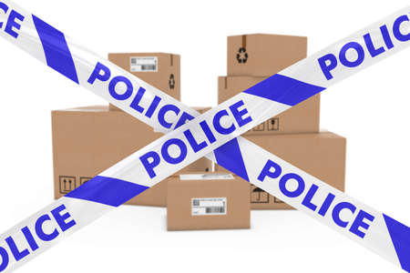 cardboard boxes: Suspicious Parcels Concept - Stack of Cardboard Boxes behind Police Tape Cordon
