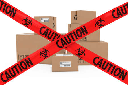 cardboard boxes: Biological Attack Parcels Concept - Stack of Cardboard Boxes behind Caution Biohazard Tape Cross
