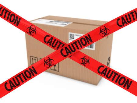 riesgo biologico: Ataque químico parcela Concepto - Caja de cartón detrás de Biohazard Cinta Cruz