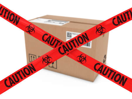 biohazard: Chemical Attack Parcel Concept - Cardboard Box behind Biohazard Tape Cross