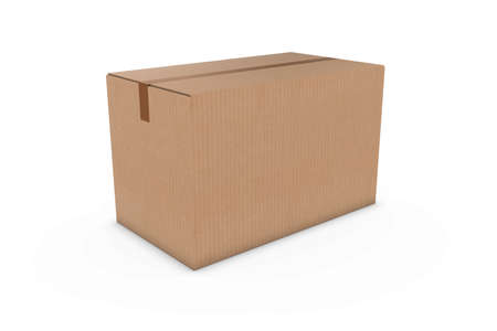corrugated cardboard: Blank Cardboard Box Isolated on White Background