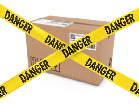danger box: Suspicious Parcel Concept - Cardboard Box behind Danger Tape Cross