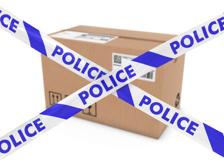 barrier tape: Suspicious Parcel Concept - Cardboard Box behind Police Tape Cordon