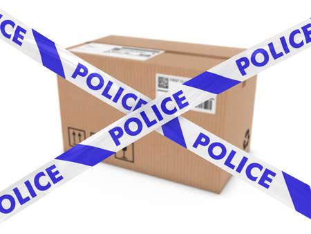 suspicious: Suspicious Parcel Concept - Cardboard Box behind Police Tape Cordon