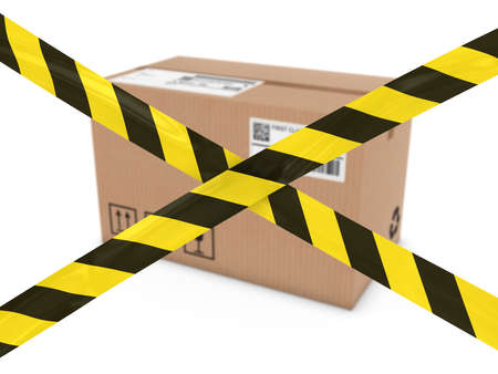 corrugated cardboard: Suspicious Parcel Concept - Cardboard Box behind Striped Hazard Tape