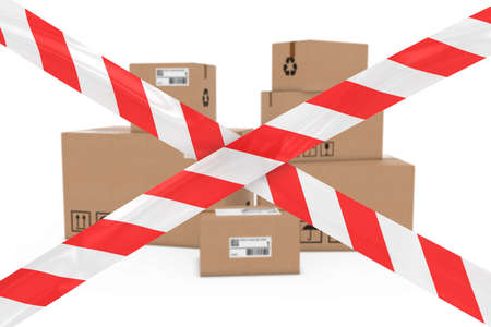 corrugated cardboard: Dangerous Parcels Concept - Stack of Cardboard Boxes behind Red and White Barrier Tape Cross