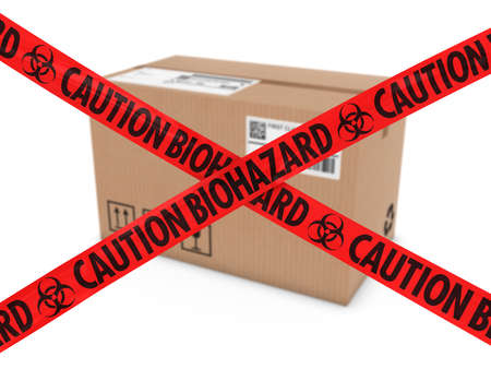 suspicious: Chemical Attack Parcel Concept - Cardboard Box behind Caution Biohazard Tape Cross Stock Photo