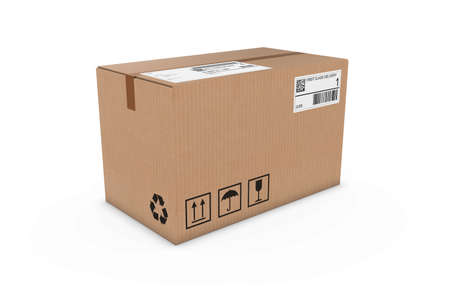 corrugated cardboard: Cardboard Box with Shipping Labels Isolated on White Background Stock Photo