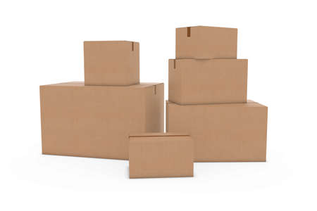 corrugated cardboard: Stack of Blank Cardboard Boxes Isolated on White