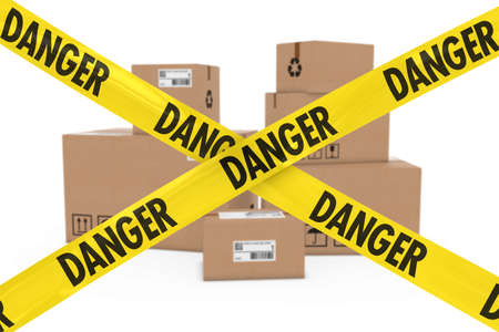 corrugated cardboard: Dangerous Parcels Concept - Stack of Cardboard Boxes behind Danger Tape Cross
