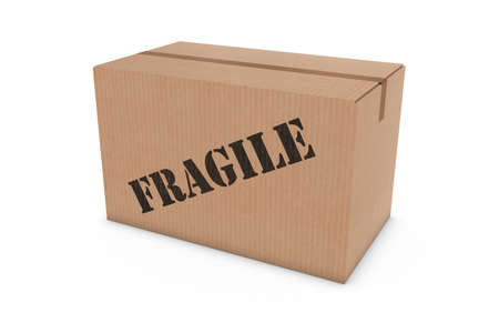corrugated cardboard: FRAGILE Stenciled Cardboard Box Isolated on White Background