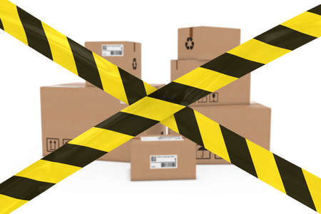 cardboard boxes: Dangerous Parcels Concept - Stack of Cardboard Boxes behind Yellow and Black Striped Barrier Tape