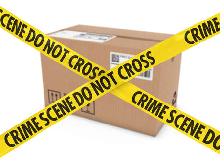 corrugated cardboard: Suspicious Parcel Concept - Cardboard Box behind Crime Scene Tape Stock Photo