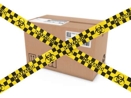 riesgo biologico: Ataque qu�mico correo Concepto - Paquete sospechoso detr�s de la cinta de Biohazard Cruz