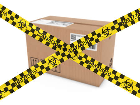 corrugated cardboard: Chemical Mail Attack Concept - Suspicious Parcel behind Biohazard Tape Cross