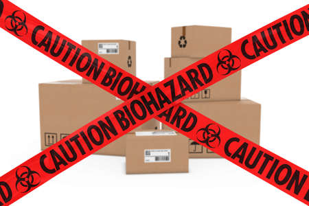 corrugated cardboard: Biological Attack Parcels Concept - Stack of Cardboard Boxes behind Caution Biohazard Tape Cross