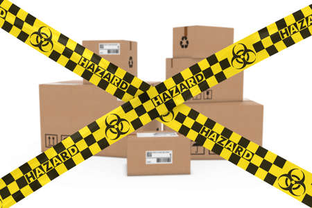 corrugated cardboard: Biological Hazard Parcels Concept - Stack of Cardboard Boxes behind Biohazard Tape Cross Stock Photo