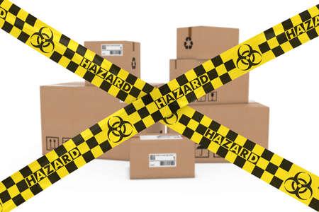 biohazard: Biological Hazard Parcels Concept - Stack of Cardboard Boxes behind Biohazard Tape Cross Stock Photo
