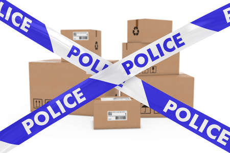 corrugated box: Suspicious Parcels Concept - Stack of Cardboard Boxes behind Police Tape Cordon