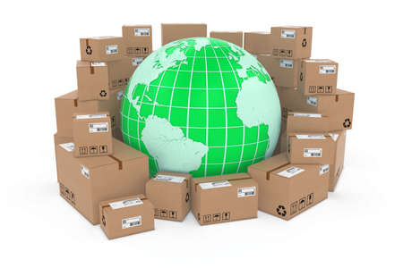 corrugated cardboard: Worldwide Delivery Concept Image - Green Earth Globe in Stack of Cardboard Boxes - Elements of this image furnished by NASA Stock Photo
