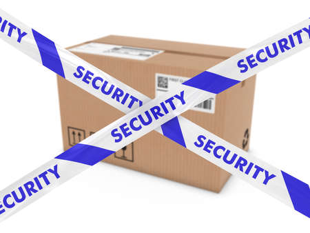 corrugated cardboard: Suspicious Parcel Concept - Cardboard Box behind Security Tape Cross