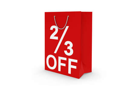 two and two thirds: Two Thirds Off Sale - Red 23 OFF Paper Shopping Bag Isolated on White Archivio Fotografico
