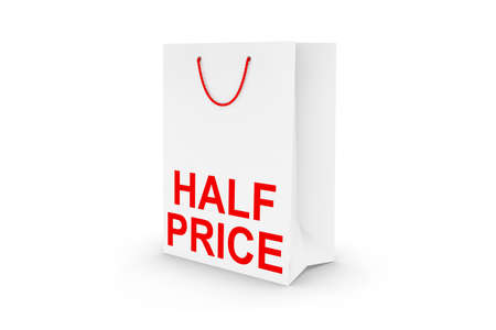 half price: White HALF PRICE Paper Shopping Bag Isolated on White